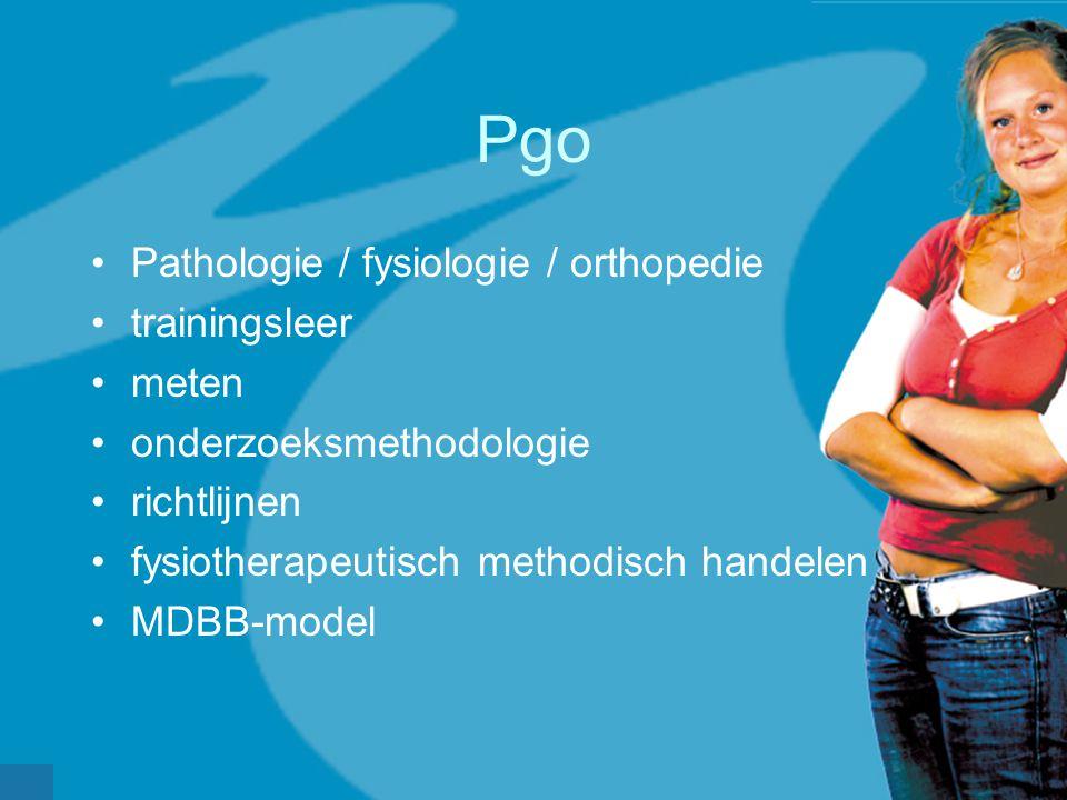Pgo Pathologie / fysiologie / orthopedie trainingsleer meten