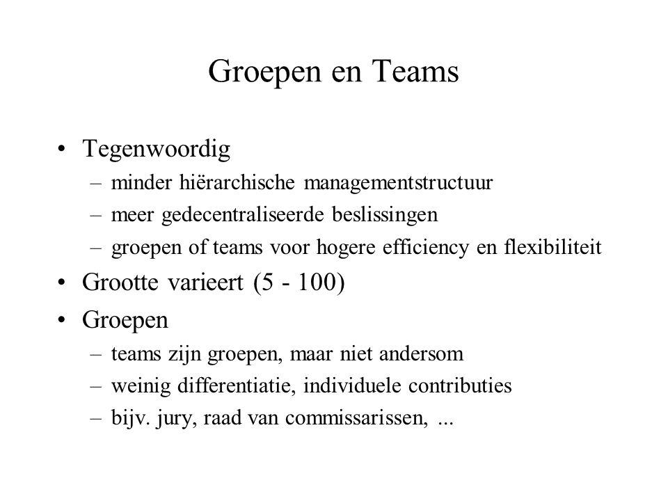 Groepen en Teams Tegenwoordig Grootte varieert (5 - 100) Groepen