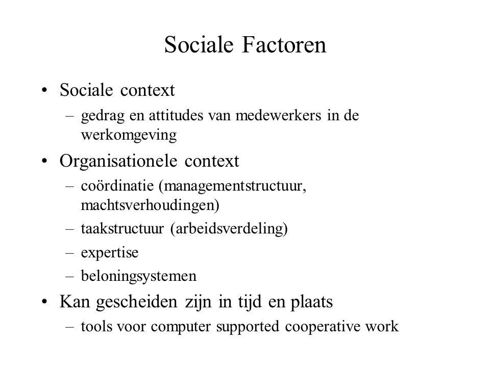 Sociale Factoren Sociale context Organisationele context