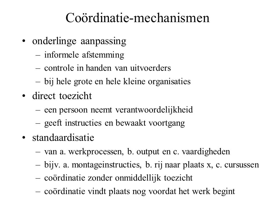 Coördinatie-mechanismen