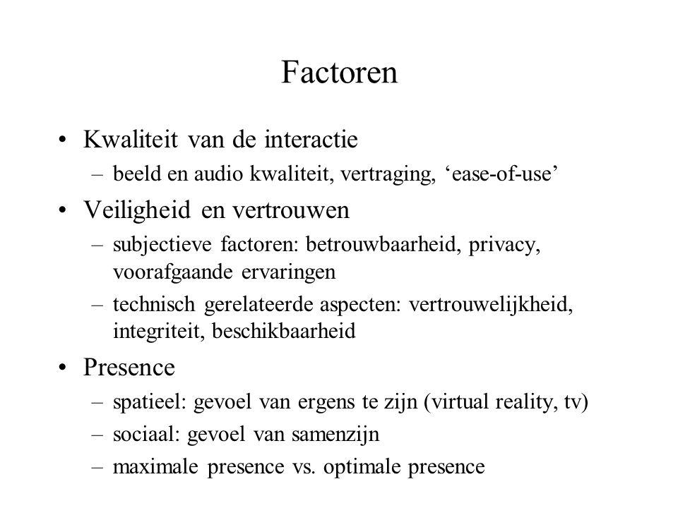 Factoren Kwaliteit van de interactie Veiligheid en vertrouwen Presence
