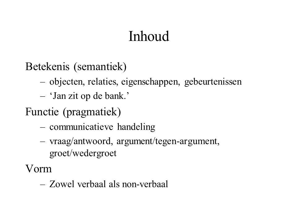 Inhoud Betekenis (semantiek) Functie (pragmatiek) Vorm