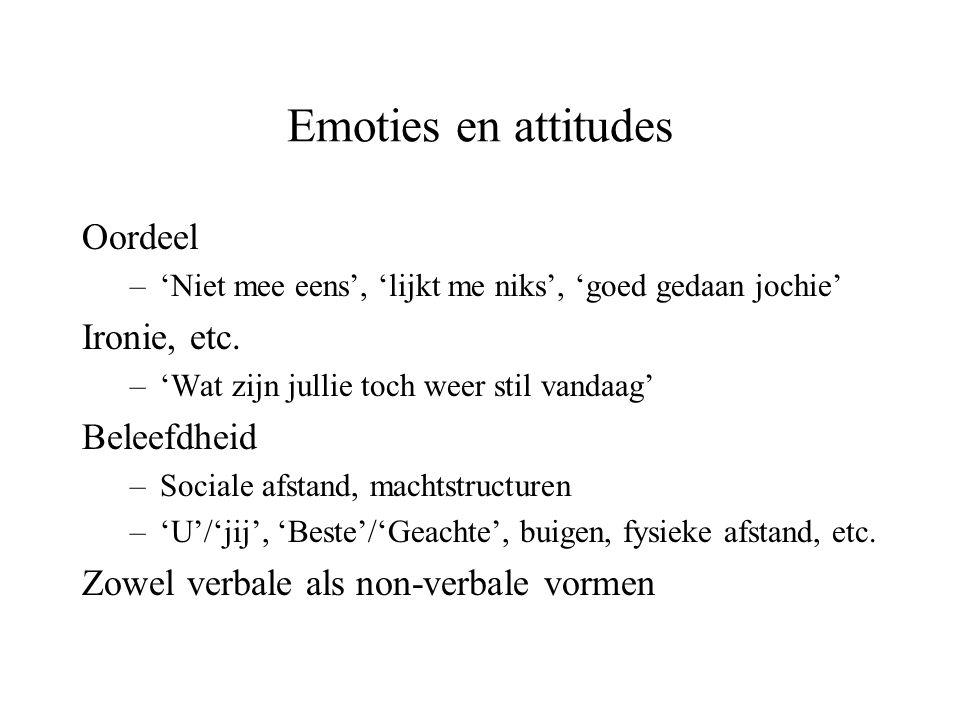 Emoties en attitudes Oordeel Ironie, etc. Beleefdheid