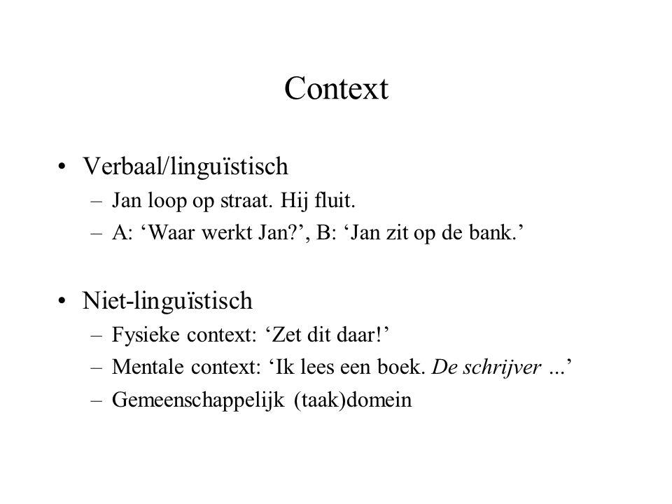 Context Verbaal/linguïstisch Niet-linguïstisch