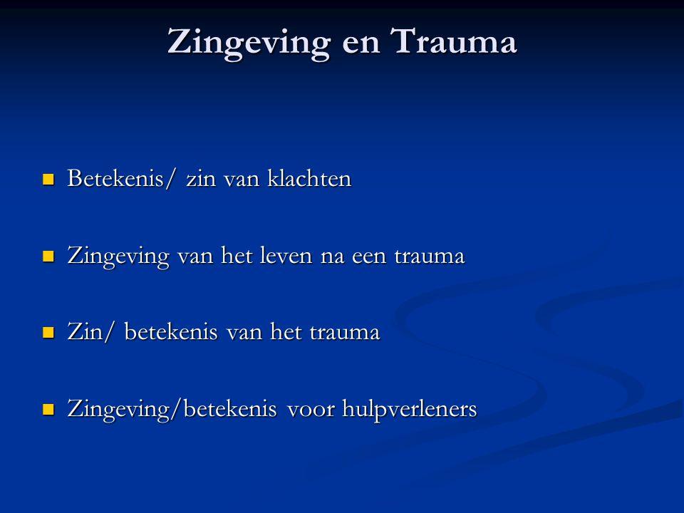 Zingeving en Trauma Betekenis/ zin van klachten