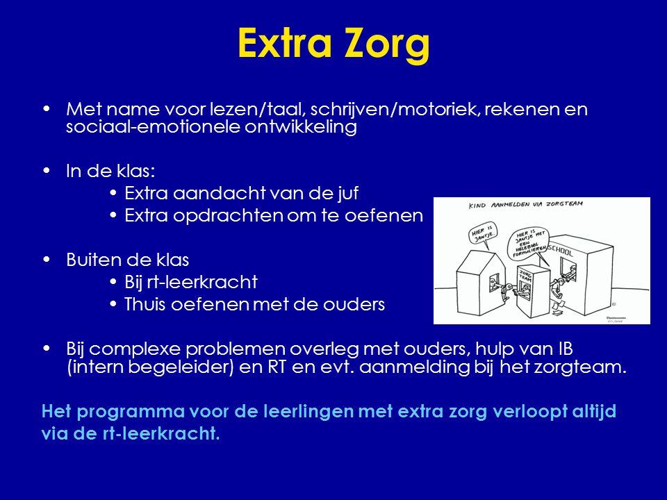 Extra Zorg Met name voor lezen/taal, schrijven/motoriek, rekenen en sociaal-emotionele ontwikkeling.