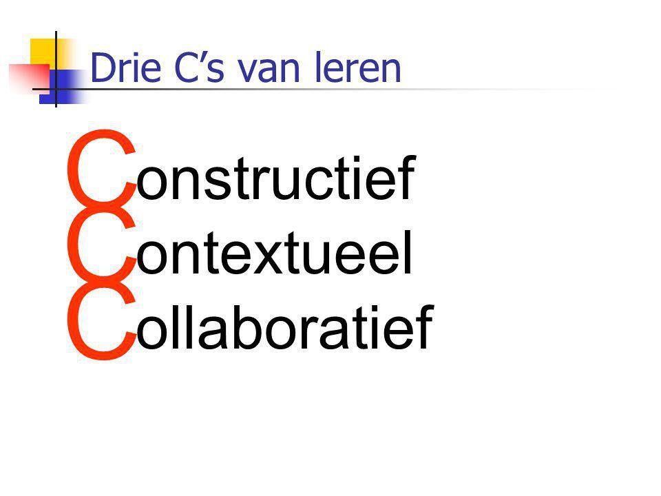 C onstructief ontextueel ollaboratief Drie C's van leren
