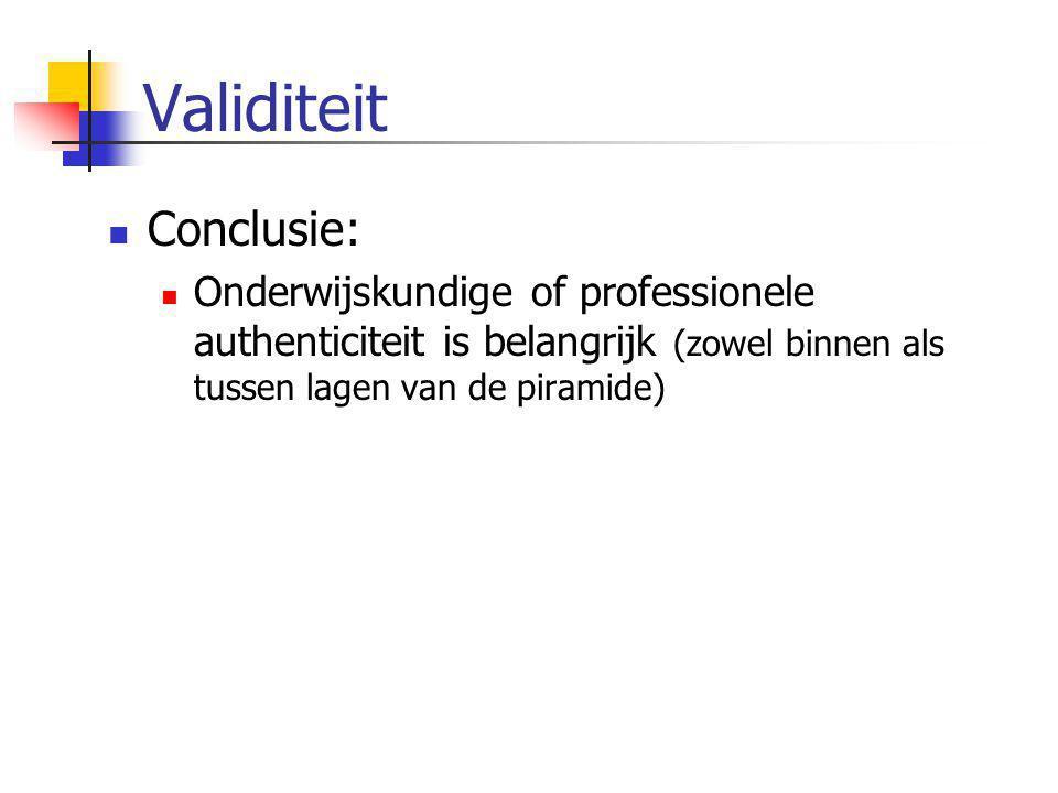 Validiteit Conclusie: