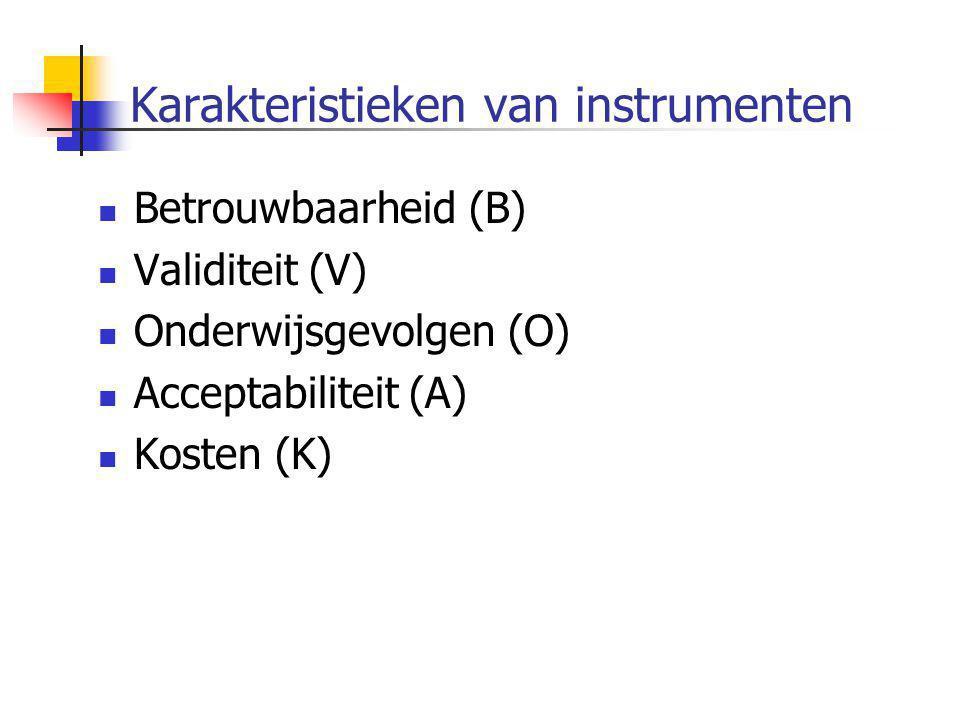 Karakteristieken van instrumenten