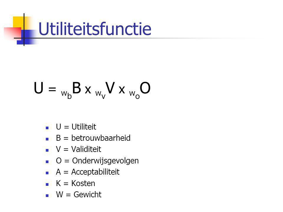 Utiliteitsfunctie U = wbB x wvV x woO x waA x wkK U = Utiliteit