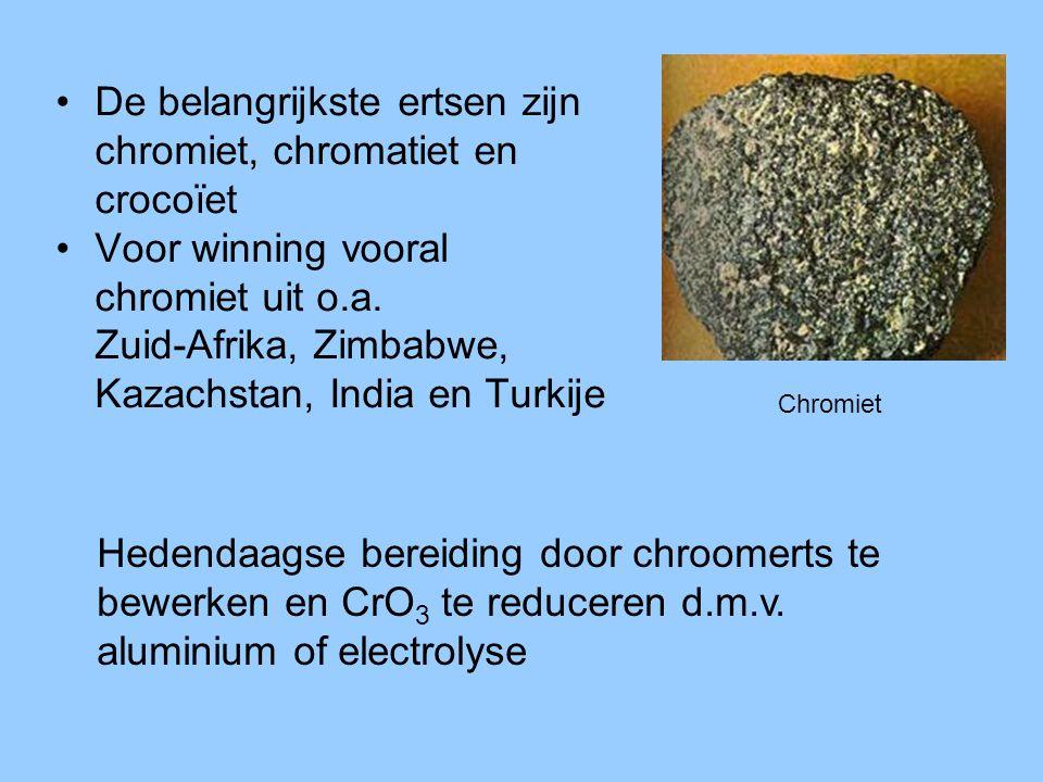 De belangrijkste ertsen zijn chromiet, chromatiet en crocoïet