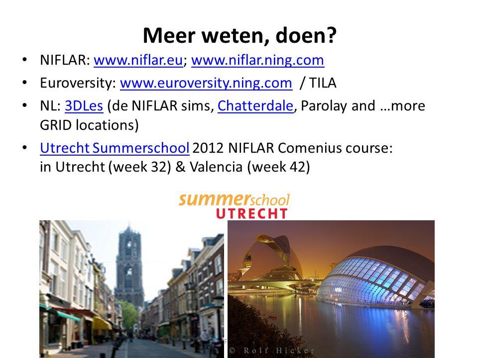 Meer weten, doen NIFLAR: www.niflar.eu; www.niflar.ning.com