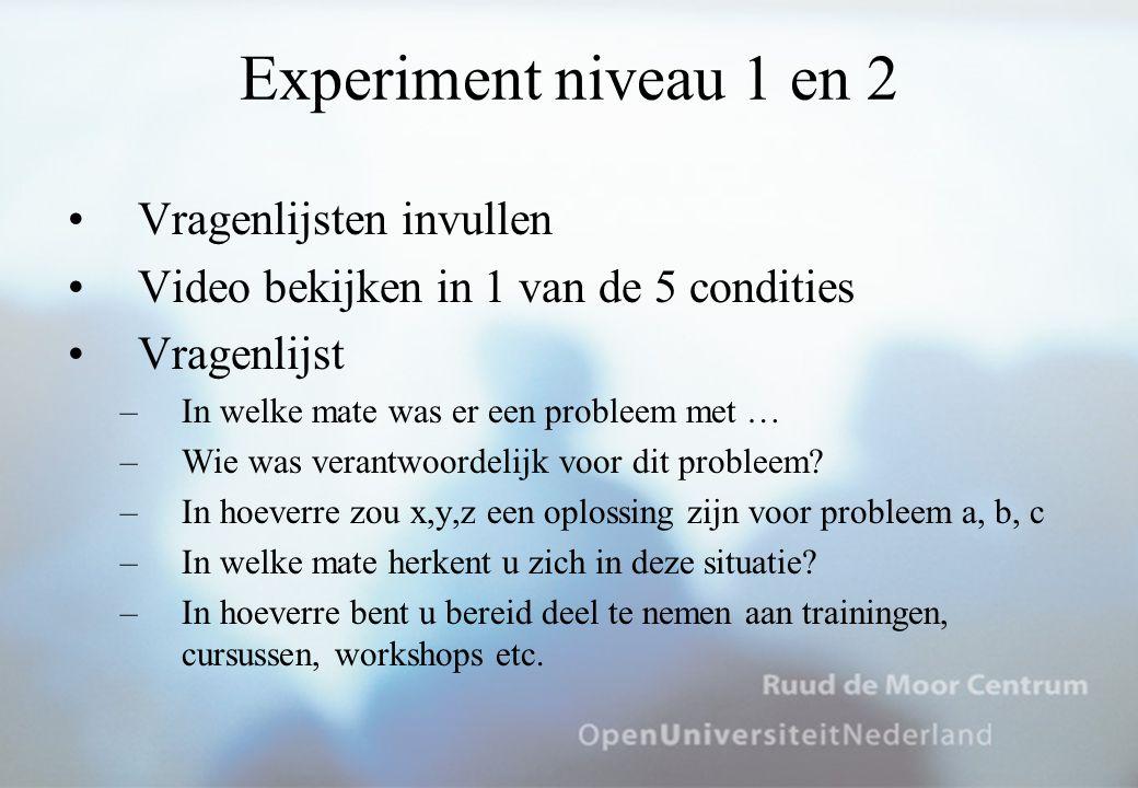 Experiment niveau 1 en 2 Vragenlijsten invullen