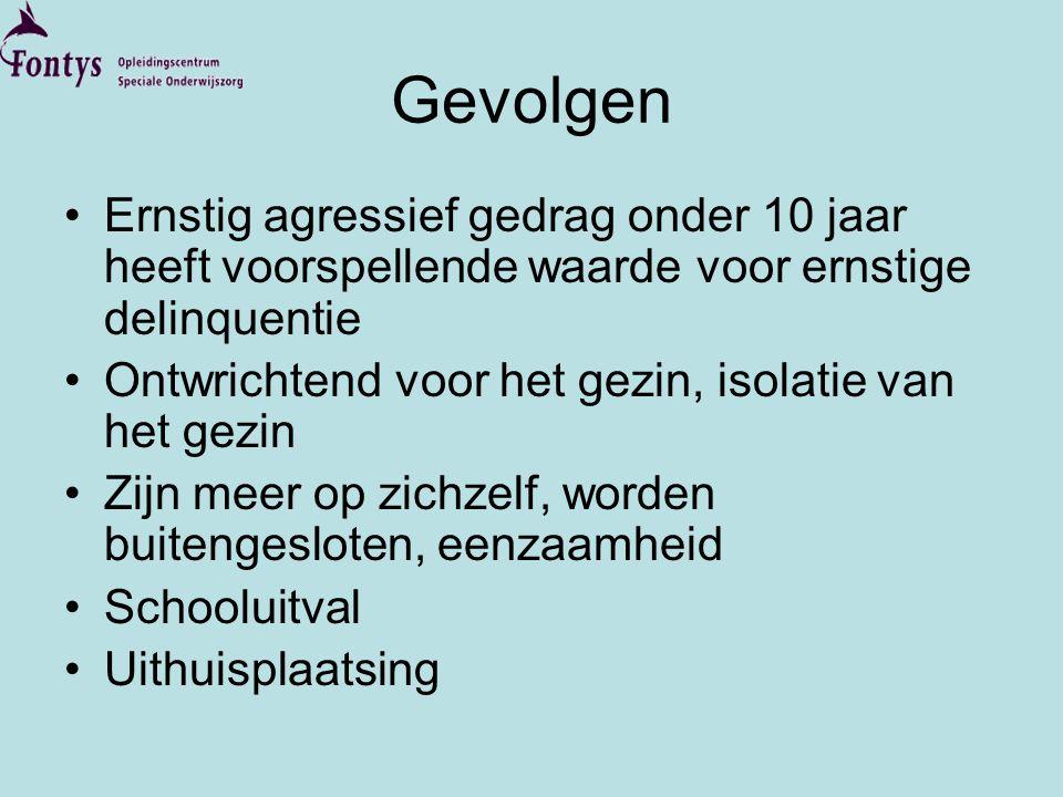 Gevolgen Ernstig agressief gedrag onder 10 jaar heeft voorspellende waarde voor ernstige delinquentie.