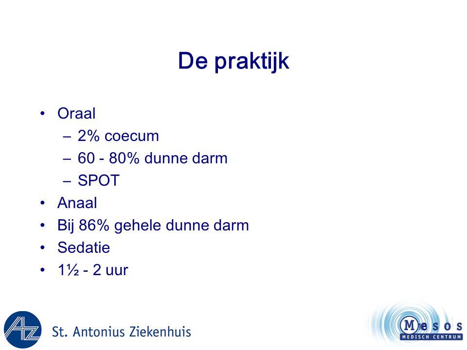 De praktijk Oraal 2% coecum 60 - 80% dunne darm SPOT Anaal