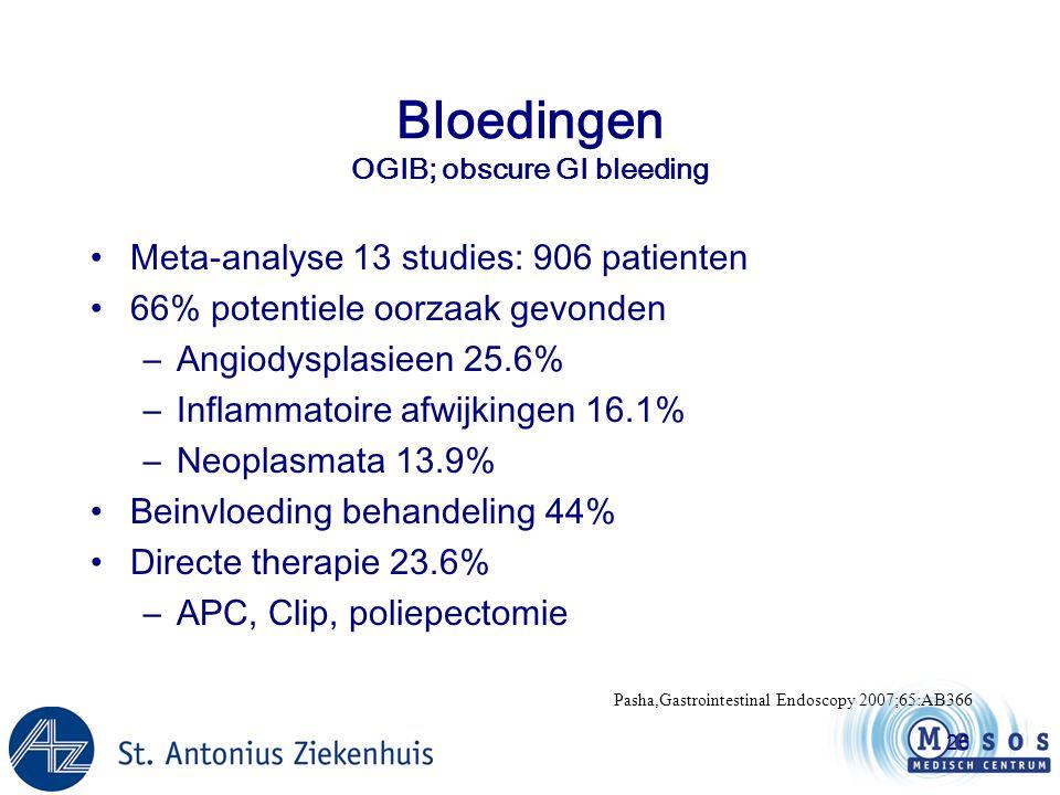 Bloedingen OGIB; obscure GI bleeding