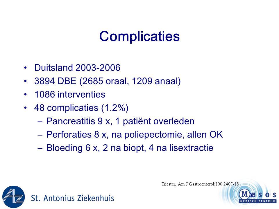 Complicaties Duitsland 2003-2006 3894 DBE (2685 oraal, 1209 anaal)