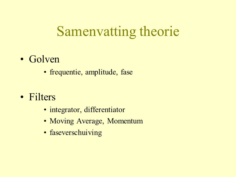 Samenvatting theorie Golven Filters frequentie, amplitude, fase