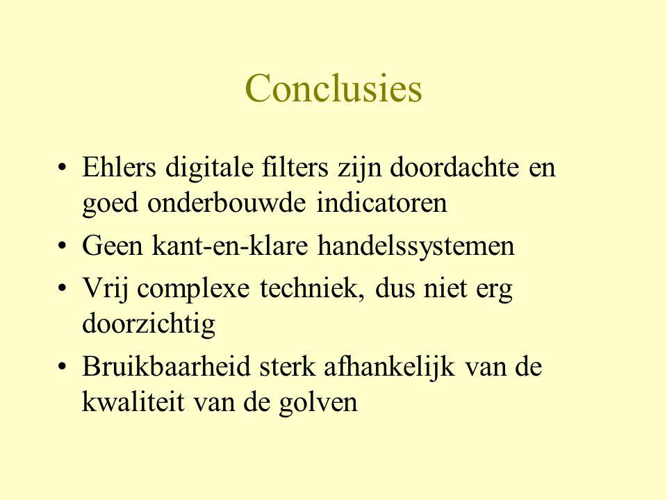 Conclusies Ehlers digitale filters zijn doordachte en goed onderbouwde indicatoren. Geen kant-en-klare handelssystemen.