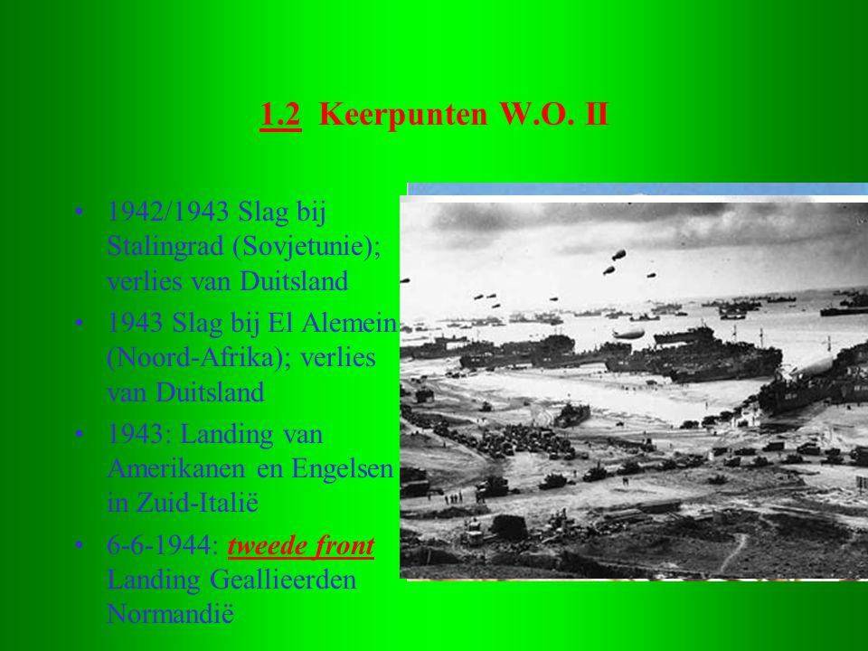 1.2 Keerpunten W.O. II 1942/1943 Slag bij Stalingrad (Sovjetunie); verlies van Duitsland.