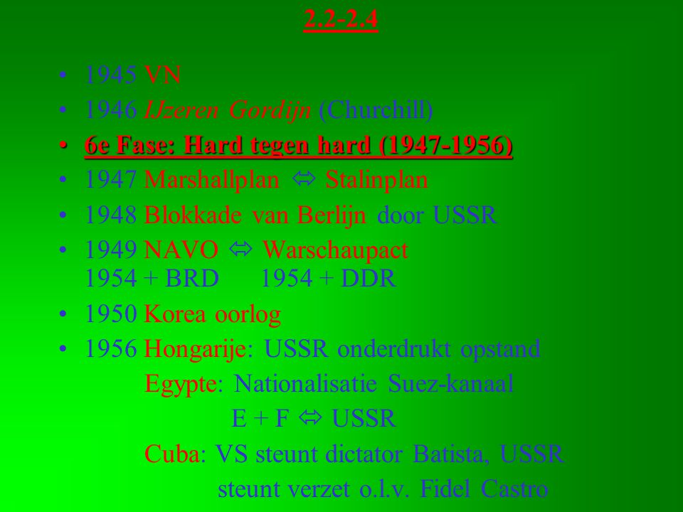 2.2-2.4 1945 VN. 1946 IJzeren Gordijn (Churchill) 6e Fase: Hard tegen hard (1947-1956) 1947 Marshallplan  Stalinplan.