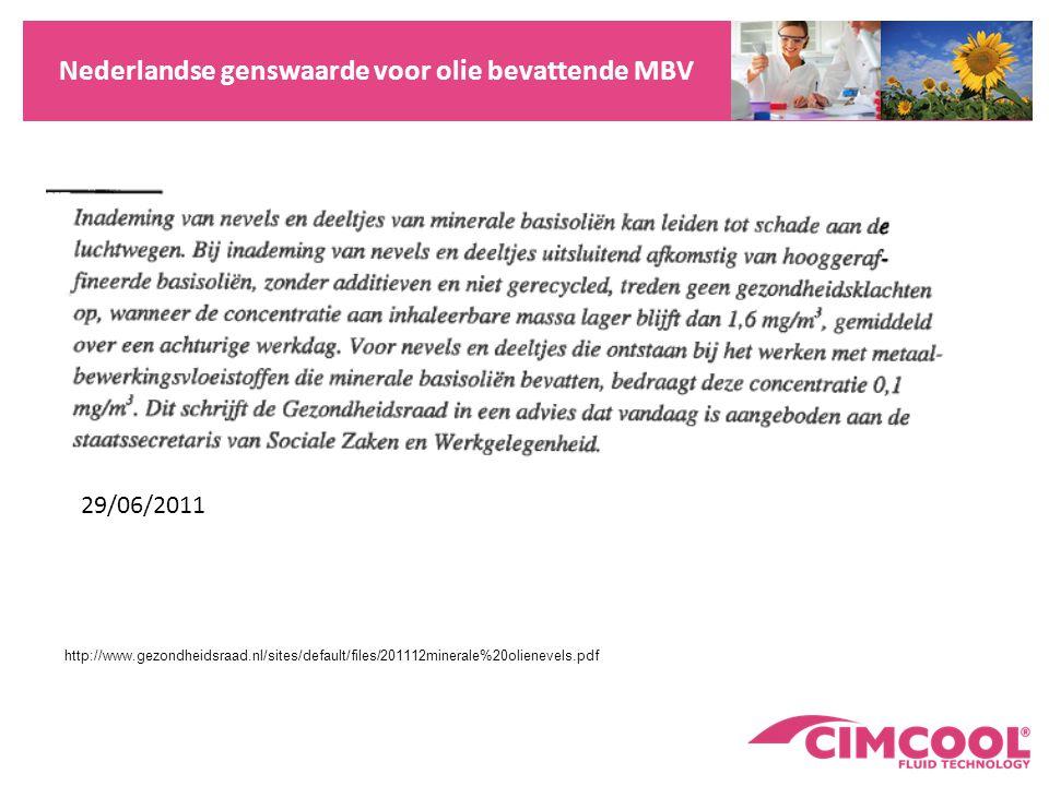 Nederlandse genswaarde voor olie bevattende MBV