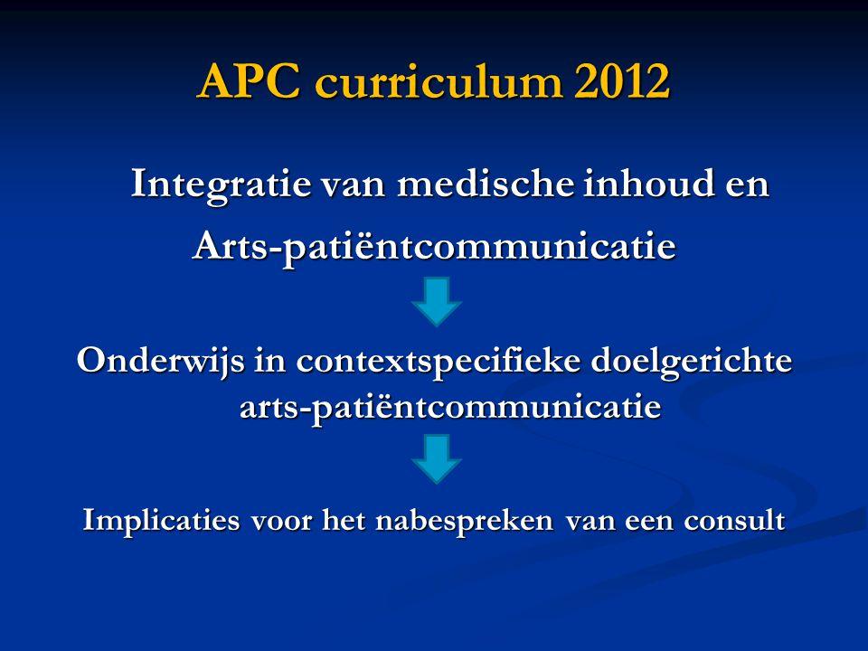 APC curriculum 2012 Integratie van medische inhoud en