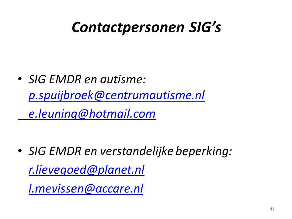 Contactpersonen SIG's
