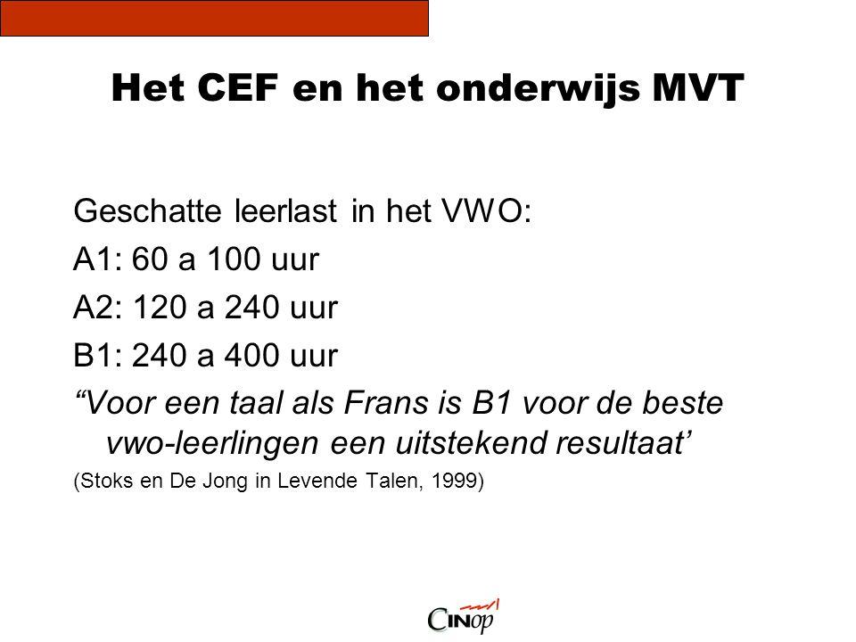 Het CEF en het onderwijs MVT