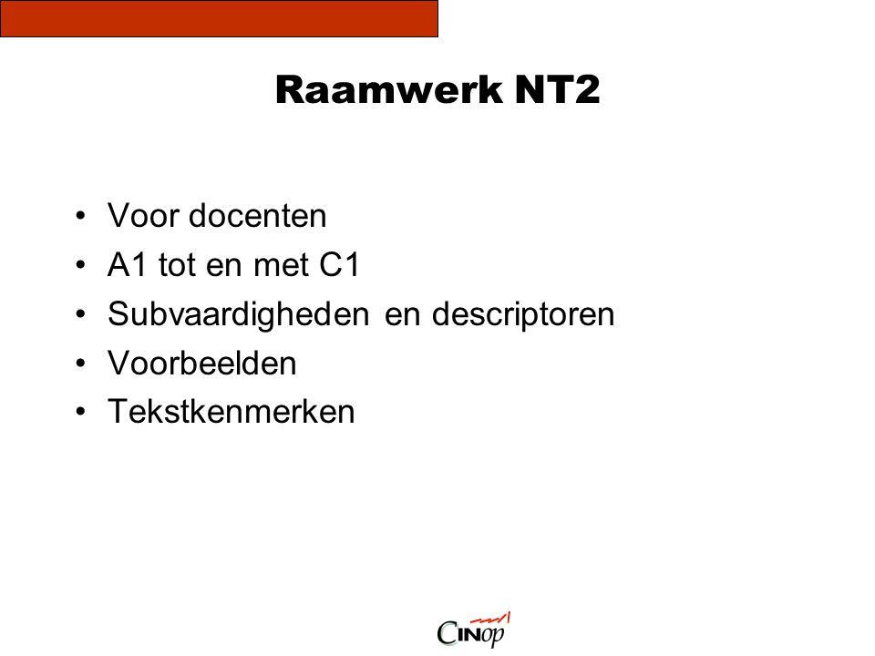 Raamwerk NT2 Voor docenten A1 tot en met C1