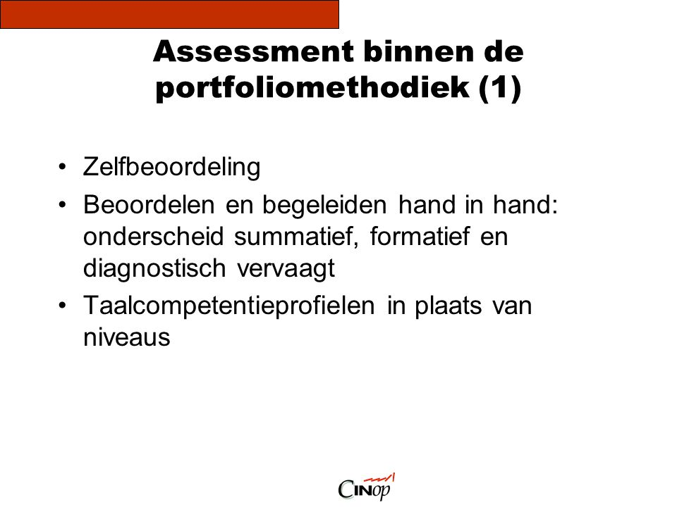 Assessment binnen de portfoliomethodiek (1)