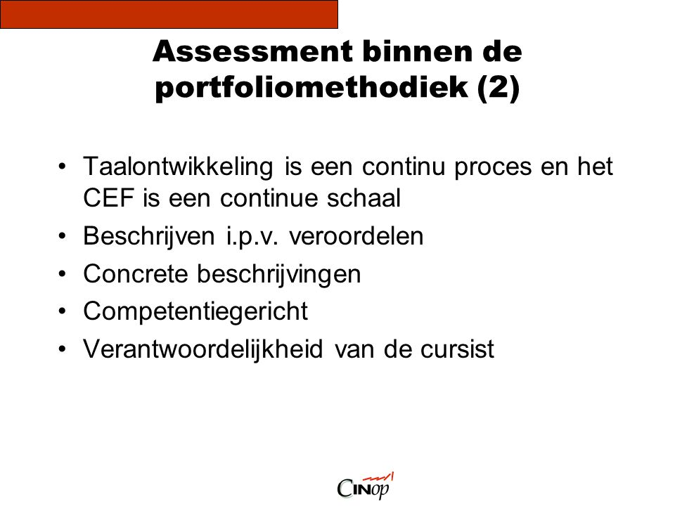 Assessment binnen de portfoliomethodiek (2)