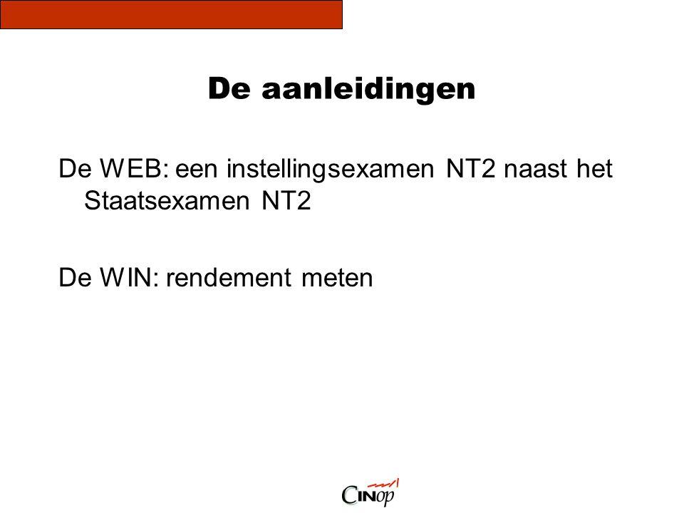 De aanleidingen De WEB: een instellingsexamen NT2 naast het Staatsexamen NT2.