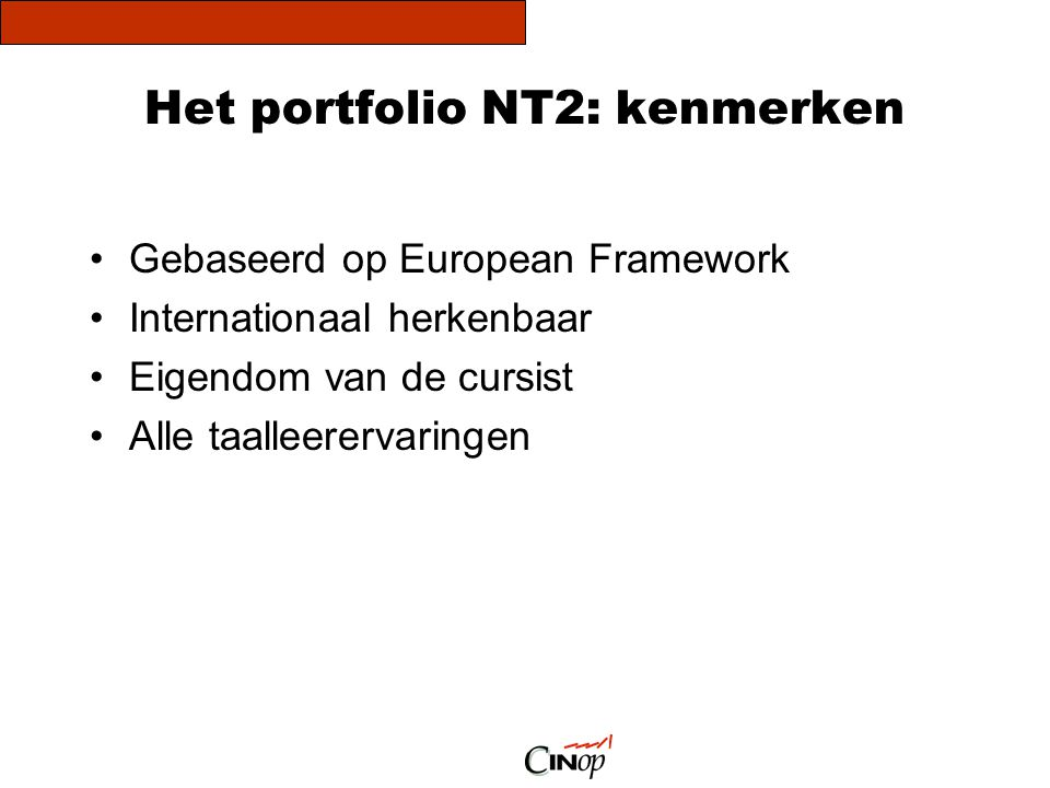 Het portfolio NT2: kenmerken