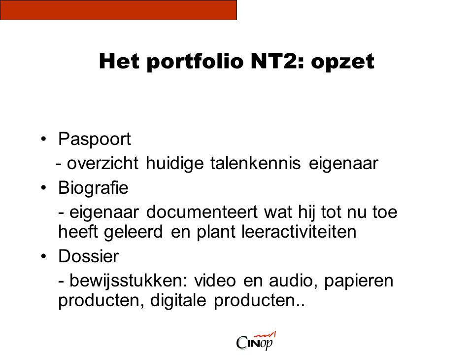Het portfolio NT2: opzet