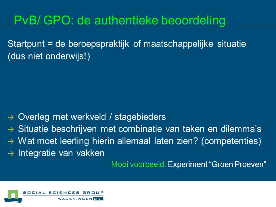 PvB/ GPO: de authentieke beoordeling