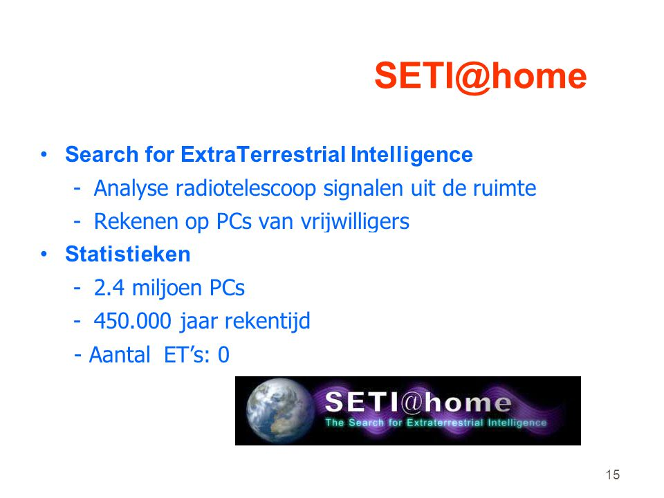 SETI@home Search for ExtraTerrestrial Intelligence