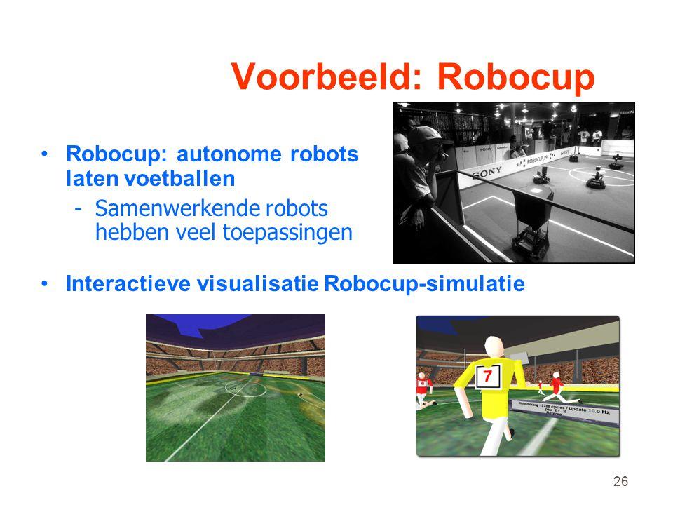 Voorbeeld: Robocup Robocup: autonome robots laten voetballen