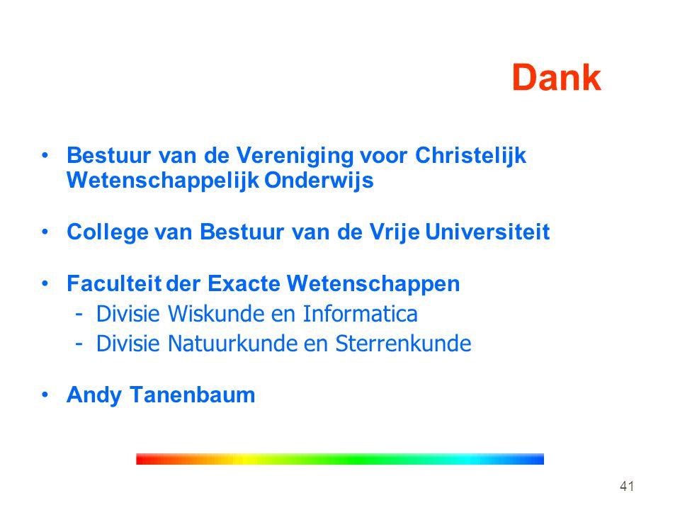 Dank Bestuur van de Vereniging voor Christelijk Wetenschappelijk Onderwijs. College van Bestuur van de Vrije Universiteit.