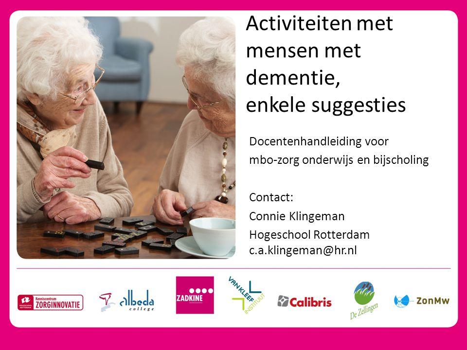 Activiteiten met mensen met dementie,
