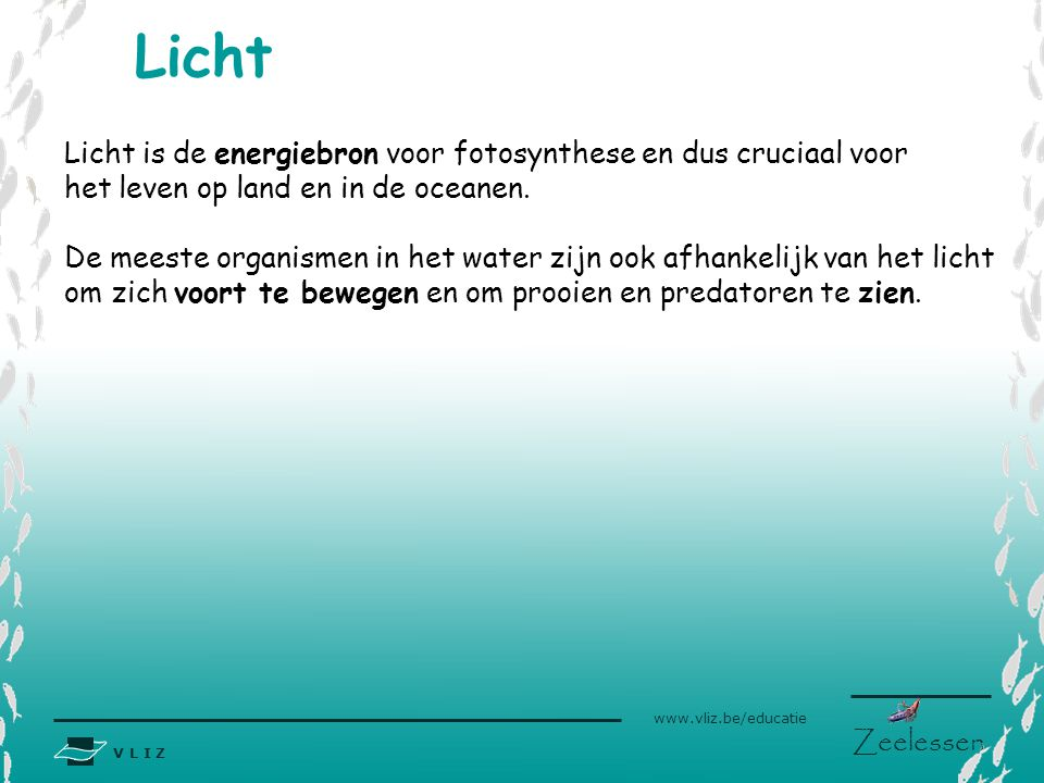 Licht Licht is de energiebron voor fotosynthese en dus cruciaal voor