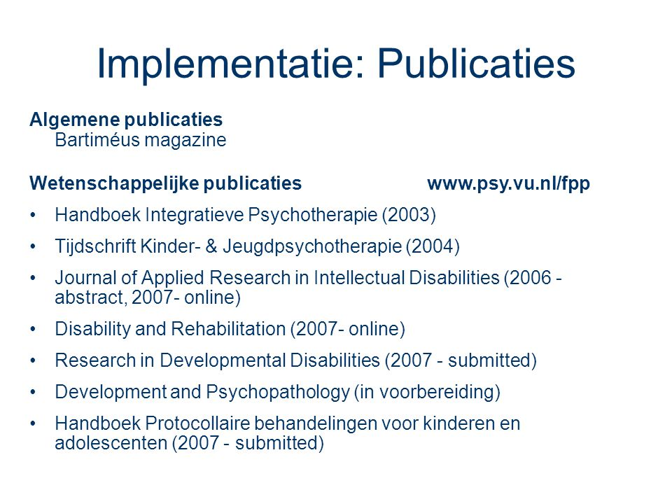 Implementatie: Publicaties