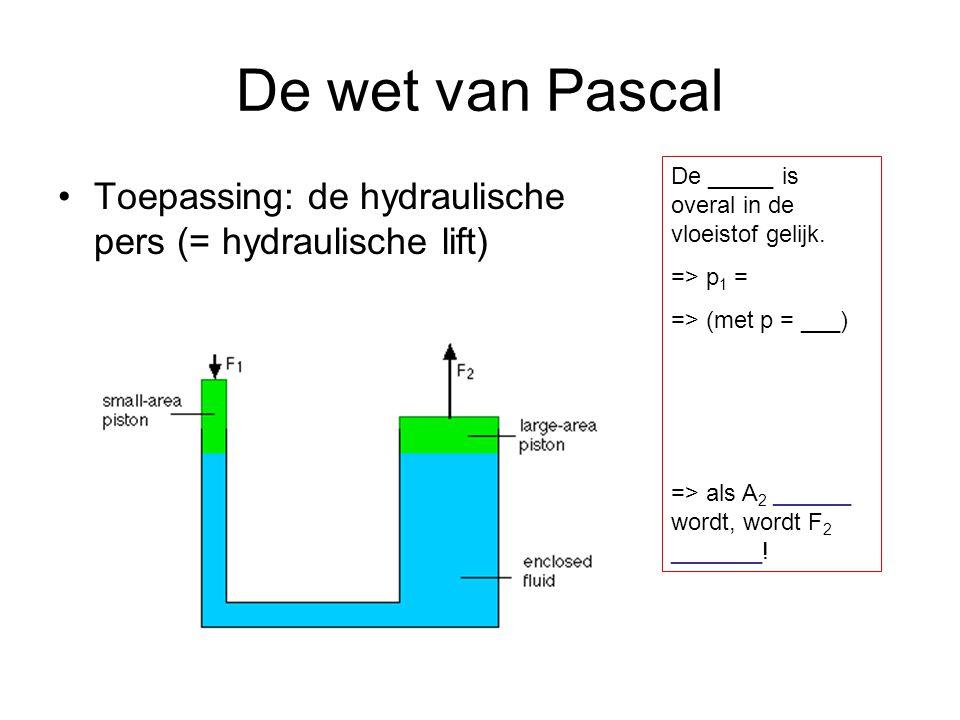 De wet van Pascal De _____ is overal in de vloeistof gelijk. => p1 = => (met p = ___) => als A2 ______ wordt, wordt F2 _______!