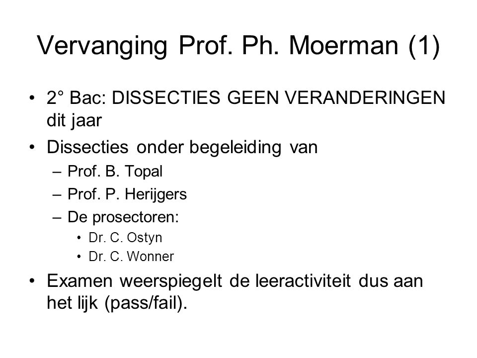 Vervanging Prof. Ph. Moerman (1)
