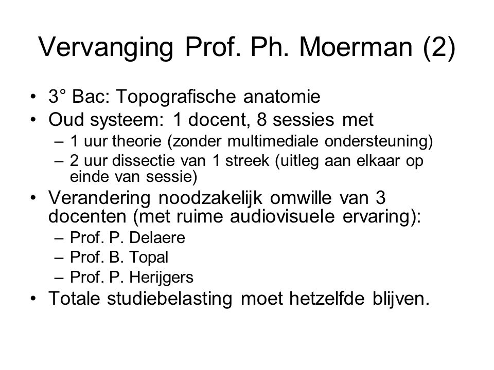Vervanging Prof. Ph. Moerman (2)