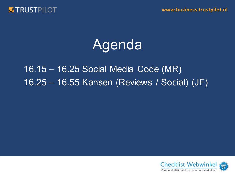 Agenda 16.15 – 16.25 Social Media Code (MR)
