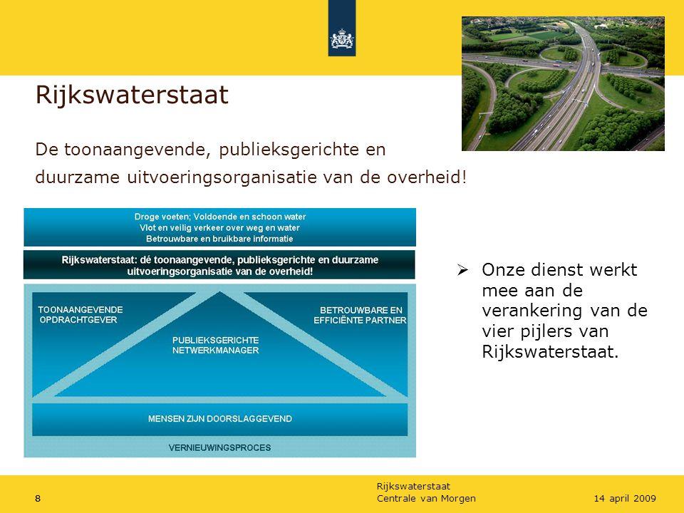 Rijkswaterstaat De toonaangevende, publieksgerichte en duurzame uitvoeringsorganisatie van de overheid!