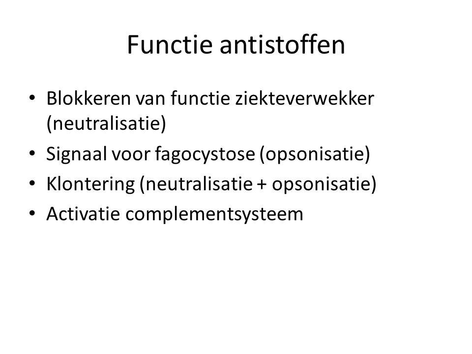Functie antistoffen Blokkeren van functie ziekteverwekker (neutralisatie) Signaal voor fagocystose (opsonisatie)