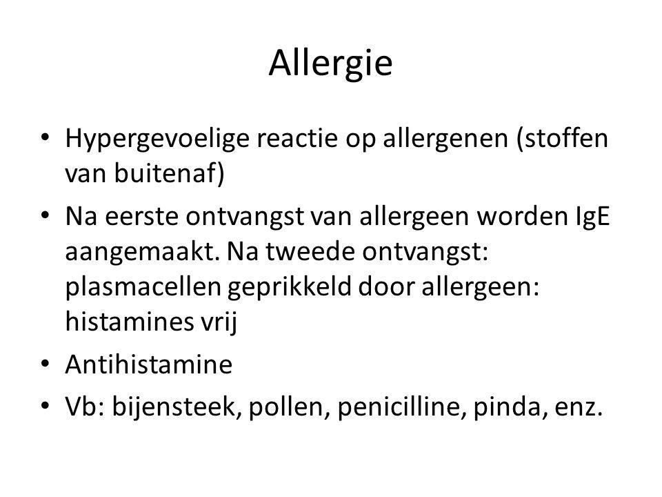 Allergie Hypergevoelige reactie op allergenen (stoffen van buitenaf)