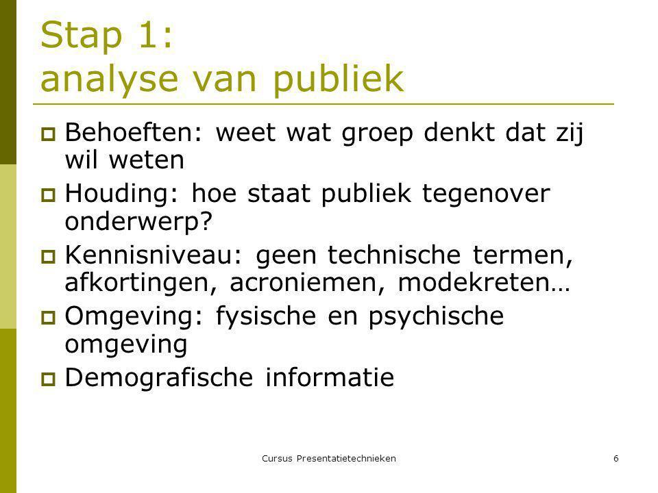 Stap 1: analyse van publiek
